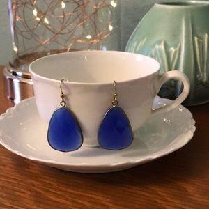 Anthropologie cobalt blue faceted drop earrings